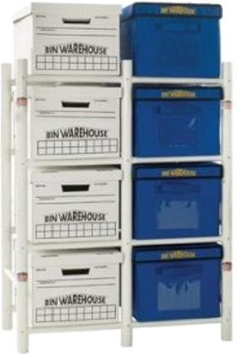 Bin Warehouse DFAE2M2X4BW0408 Tote Storage System for 8 Totes - Bin Warehouse Tote Storage Systems – Get Decluttered Now!