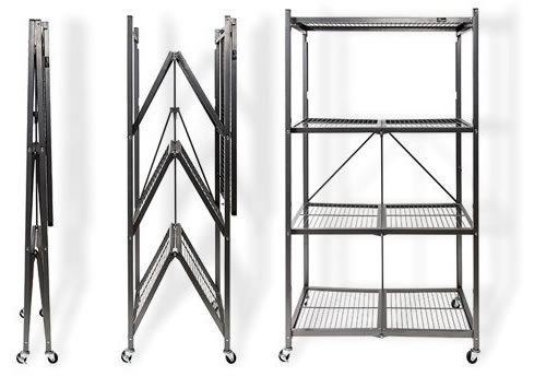 Pre-assembled sturdy racks and shelves. Just unpack, unfold, put on the wheels and declutter! - Origami Unfold and Ready To Go Shelves, Racks and Carts – Get Decluttered Now!