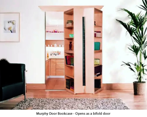 The Murphy Door Bi-Folding Surface Mount Door looks like a free standing bookcase, but give it a simple pull to reveal a hidden doorway.