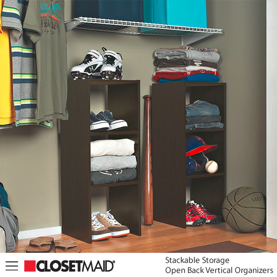 Closetmaid Stackable Open Back Vertical Organizers in Espresso finish