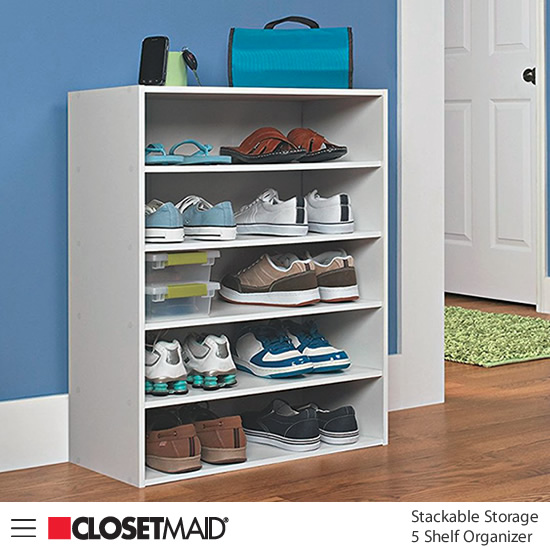 Closetmaid Stackable 5 Shelf Organizer in White finish