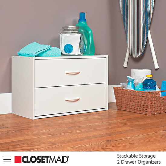 Closetmaid Stackable Storage 2 Drawer Organizer in White finish