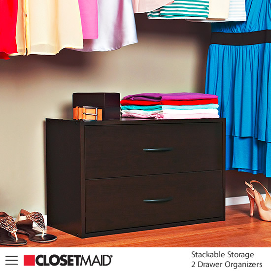 Closetmaid Stackable Storage 2 Drawer Organizer in Espresso finish