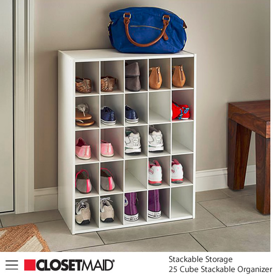 Closetmaid 25 Cube Stackable Organizer in White finish