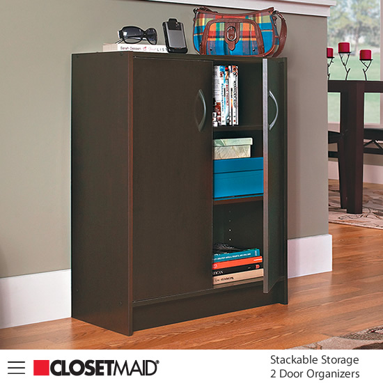 Closetmaid Stackable Storage 2 Door Organizer in Espresso finish