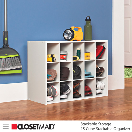 Closetmaid 15 Cube Stackable Organizer in White finish