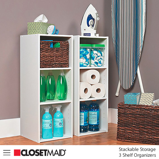 Closetmaid Stackable 3 Shelf Organizers in White finish