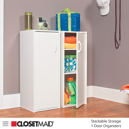 Closetmaid Stackable Storage 1 Door Organizers in White finish