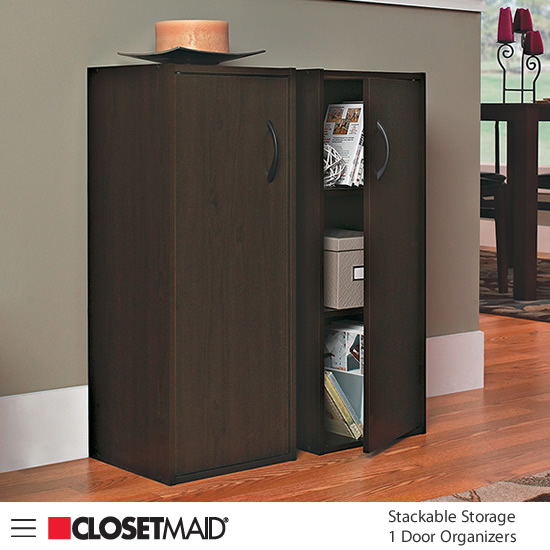 Closetmaid Stackable Storage 1 Door Organizers in Espresso finish
