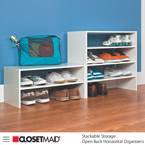 Closetmaid Stackable Open Back Horizontal Organizers in White finish Ideal for shoes
