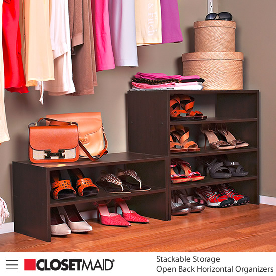 Closetmaid Stackable Open Back Horizontal Organizers in Espresso finish Ideal for shoes