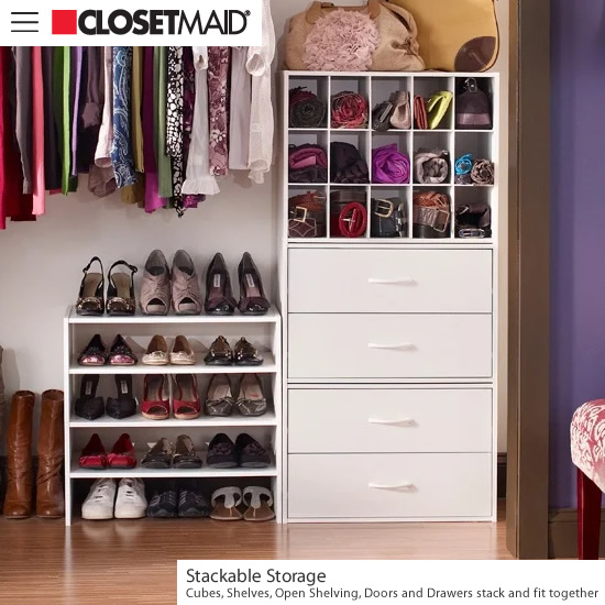 ClosetMaid Stackable Storage pieces fit together to provide organized storage.