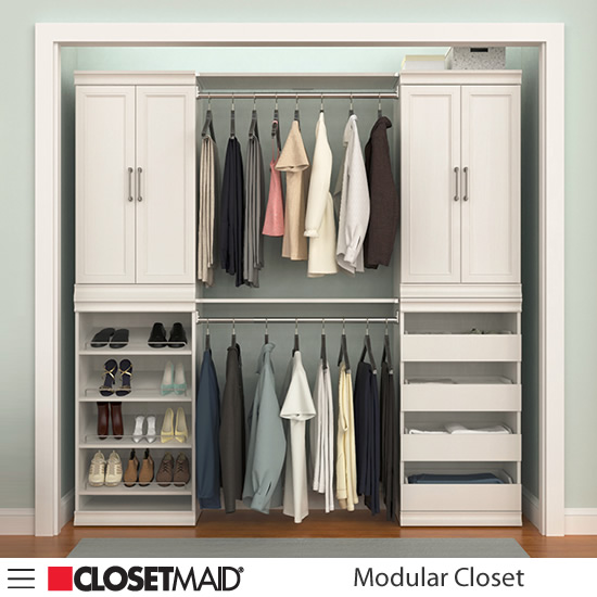 ClosetMaid Modular Closet Shoe Unit, Drawer Unit, Hang Rods with Shelves and and Shelf Units with Doors