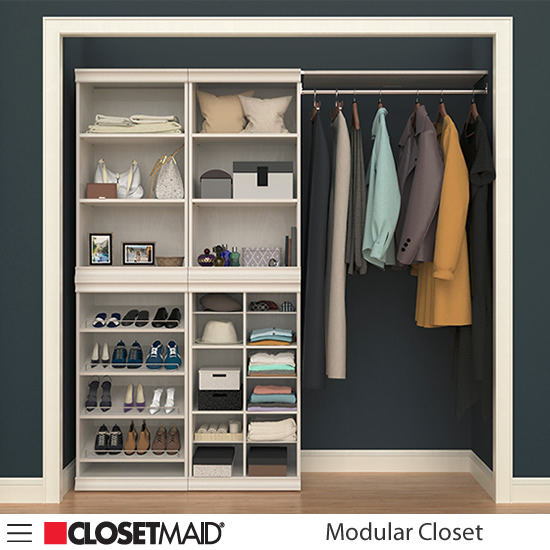 ClosetMaid Modular Closet Shelf Units stacked on Divided Multi-compartment Unit and Shoe Unit with Hang Rod with Shelf