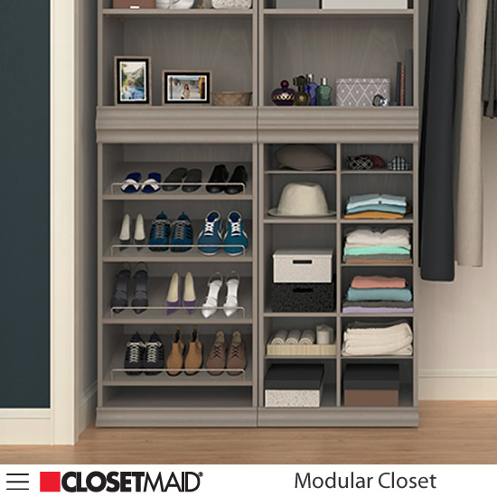 Divided Multi-compartment Unit and Shoe Unit with Shelf Units stacked on top