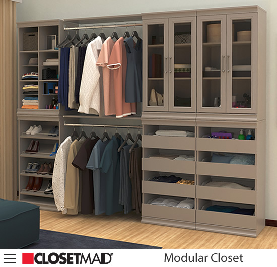 ClosetMaid Modular Closet Divided Multi-compartment Units, Shoe Units, Hang Rods with Shelves, Drawer Units and Shelf Units with Glass Doors