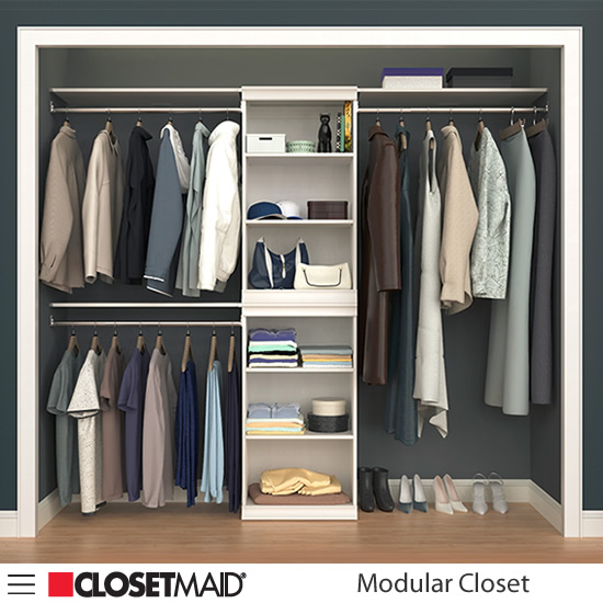 ClosetMaid Modular Closet Stacked Shelf Units and Three Hang Rods with Shelves