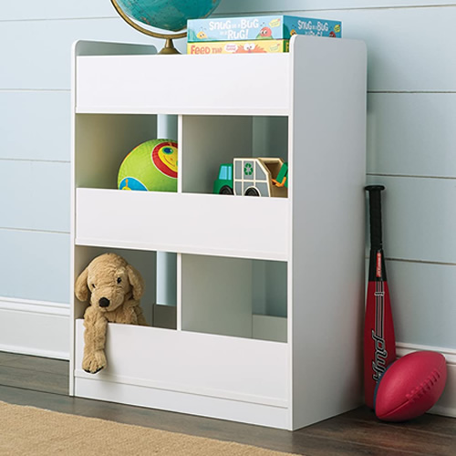 The ClosetMaid KidSpace 1495 Room Divider Open Storage Unit is finished on both sides to serve as a room divider.