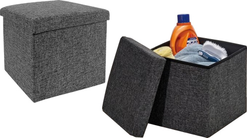Seville Classics WEB256 Charcoal Gray Foldable Storage Ottomans