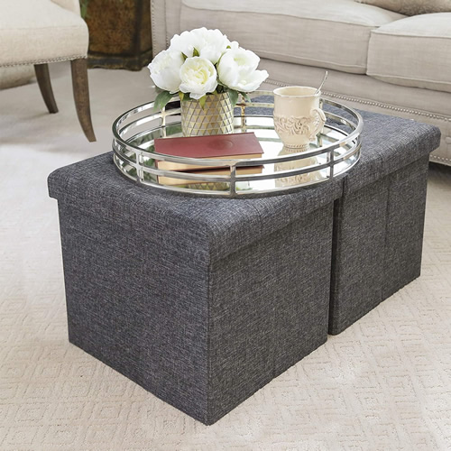 Seville Classics Foldable Storage Ottomans WEB291 Charcoal Gray 2-Pack