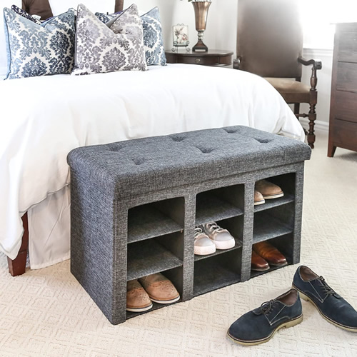 Seville Classics WEB591 Charcoal Gray Upholstered Shoe Storage Bench