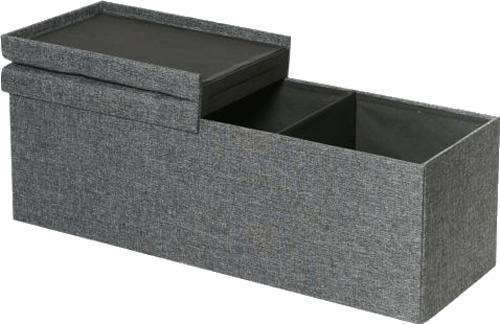 "Seville Classics 43"" Large Tufted Lift Top Foldable Storage Bench Ottomans with Removable Divider Panels"