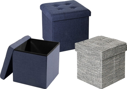Seville Classics Foldable Tufted Storage Ottomans WEB352 Midnight Blue WEB596 Woven Gray
