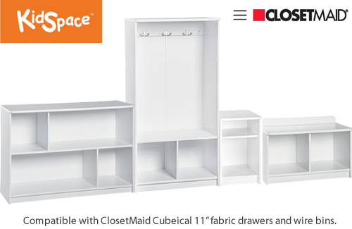 "ClosetMaid KidSpace Juvenile Storage These components are all 14.61"" deep."